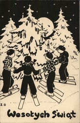 Illustration of Skiiers Gathered Around Christmas Tree - Wesotych Swiat