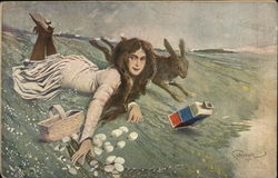 Girl and Bunny Swept by Waves