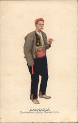 Man in Ornate Outfit with Red Sash and Cap, Smoking