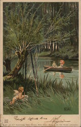 Cupid Watching Couple Rowing on River