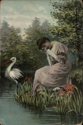 Woman Crying at Pond with Stork
