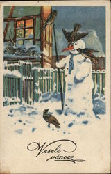 Birds on Snowman Holding Rod