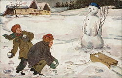 Two Children Throwing Snowballs at Snowman