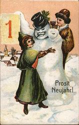 Women with Snowman - Prosit Neujahr!