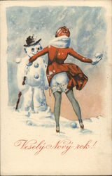 Woman with Bottom Exposed Throwing Snowball at Snowman