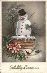 Snowman, Birds, Flowers - Gelukkig Nieuwjaar