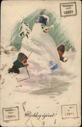 Two Children Playing Near Large Snowman