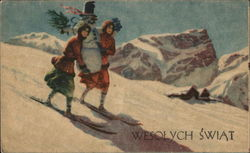 Women Skiing Down Hill with Snowman - Wesolych Swiat