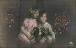 Two Children Posing with Flowers - Hand Colored