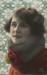 Photo of Woman with Neck Warmer - Hand Colored