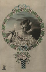 Woman with Champagne Flute in an Illustrated Floral Frame