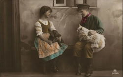 Boy and Girl with Cat and Dog - Hand Colored