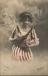 Woman in Striped Dress with Flowers