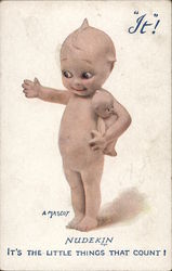 Naked Baby Caricature Holding Tiny Baby Doll