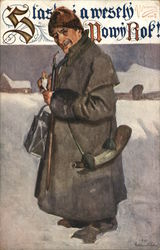 Man Wearing Overcoat and Hat Outdoors in Snow