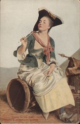 Woman Wearing Tricorn, Holding Pipe, Seated on Drum