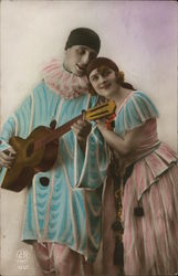 Jester Clown Couple Embracing and Playing Music