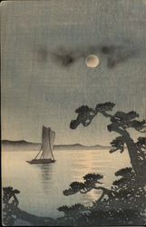 Painting of a boat under the moon