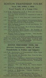Boston friendship tours programme from 1933