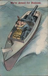 Soldier and Woman Embracing in Gun Boat Postcard
