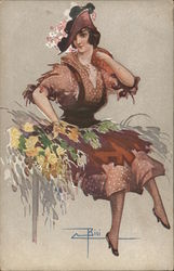 Woman with Yellow Flowers Wearing Dress and Hat