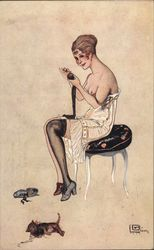 Illustration of Partially Nude Woman Removing Stockings