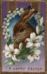 Rabbit in Ring of Flowers - A Happy Easter
