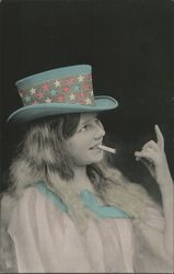 Girl with Cigarette and Patriotic Hat