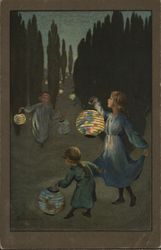 Children with Lanterns at Dusk