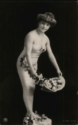 Woman in Tight Low Cut Dress with Basket of Flowers