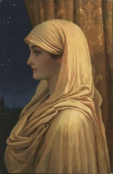 Woman with Yellow Scarf, Shawl Beneath Starry Sky