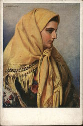 Woman Wearing Yellow Shawl over Head and Shoulders