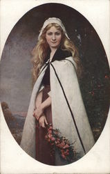 Woman with Long Blond Hair Wearing White Cape and Hat
