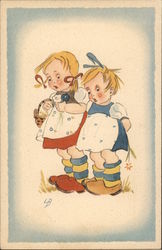 Two Little Girls with Surprised Expressions, One Carrying Basket Postcard