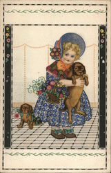 Girl in Blue Dress and Bonnet Holding Puppy