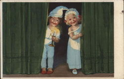 Two Children in Nightclothes, Boy Holding Candle