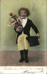 Well Dressed Boy with Top Hat and Bouquet