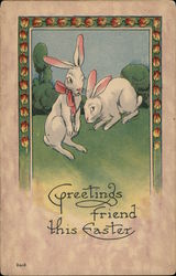 Rabbits with Bow - Greetings Friend this Easter