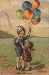 Little Boy Holding Balloon Bunch Away from Little Girl