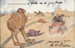 Two ships of the Desert - Camel and Automobile