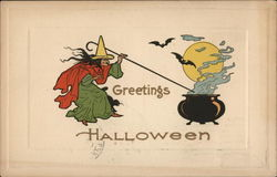Witch with Cauldron and Bats - Greetings Halloween