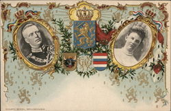Two Royals in Oval Frames Near Insignias