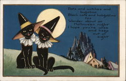 Cats Dressed as Witches by Full Moon