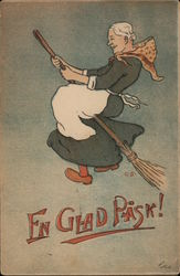 Fn Glad Pask! - Happy Easter - Witch on Broomstick