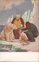 Roosevelt Bears Eating Fish over a Fire