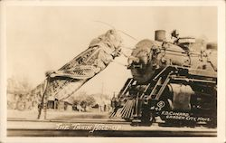 The Train Hold-Up - Giant Grasshopper Postcard
