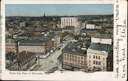 Birds Eye View of Worcester, Mass. Postcard