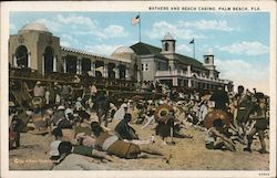 Bathers and Beach Casino Postcard