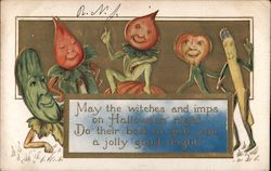 Halloween - vegetables with faces, arms and legs - Embossed Postcard