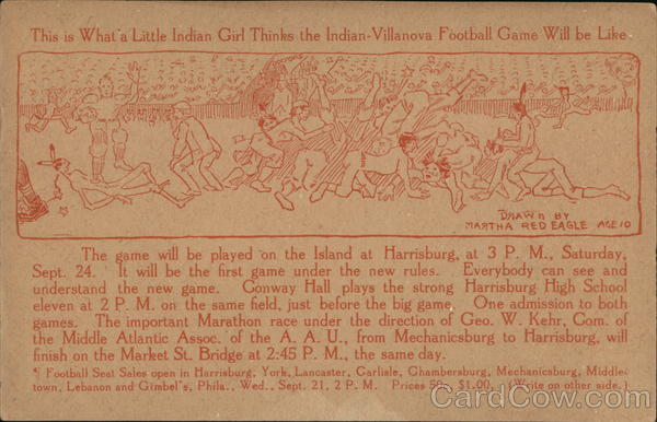 Indian-Villanova Football Game Cartoon Harrisburg Pennsylvania